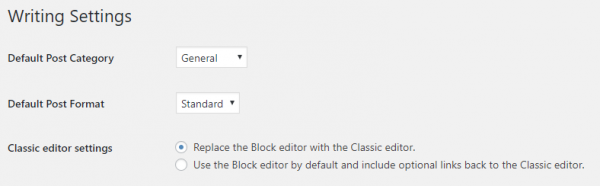 The Classic Editor plugin settings