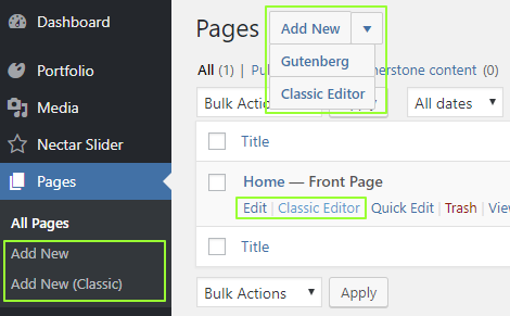 Classic Editor plugin with Block editor enabled