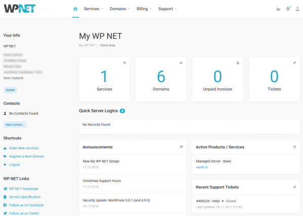 New My WP NET Client Homepage